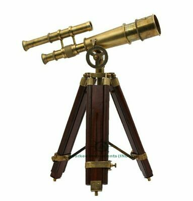 Antique Brass Marine Telescope Double Barrel Nautical Maritime Wooden Tripod
