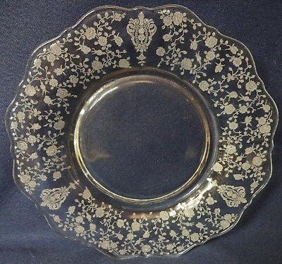 """Rose Point Crystal Plate 8"""" 3900/22 Set of 3 Cambridge Glass Company"""