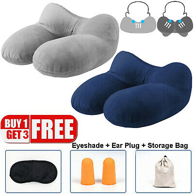 Travel Pillow Portable Inflatable Neck Support Head Rest Airplane Soft Cushion