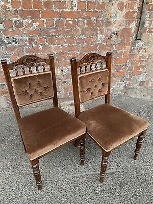 Pair Of Antique Edwardian Carved Oak Dining Chairs - Two Occasional Chairs