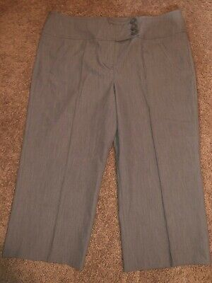 Womens Size 14 Gray Career Slacks Capris By Larry Levine Stretch Cropped Pants !