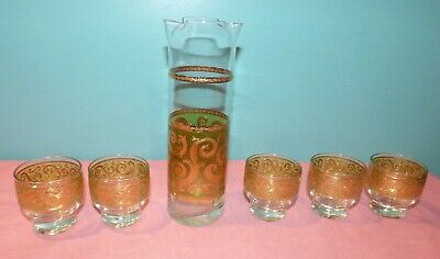 Culver Toledo Cocktail Pitcher w/ 5 Footed Glasses Mid Century Modern Green Gold