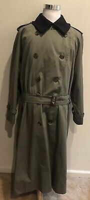BURBERRY London Long Olive Trench Coat W Removable Wool Camel Hair Liner 42 Long