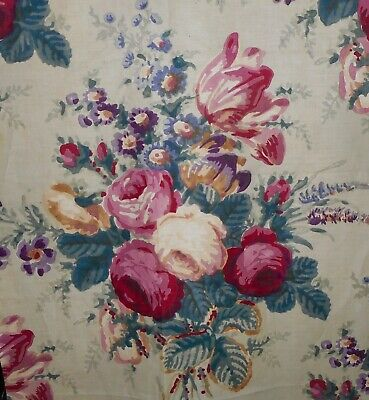 Antique English Lg. Cabbage Roses Floral Cotton Fabric ~ Rose Red Green Lavender