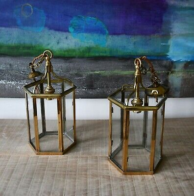 A Pair of W Sitch & Co Georgian Style Brass Porch Hall Light Table Lamp Lanterns