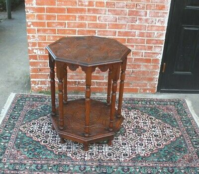 English Antique Oak Edwardian Style Octagon Occasional Table / Side Table