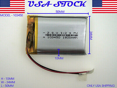 3.7V 1800mAh 103450 Lithium Polymer LiPo Rechargeable Battery (USA STOCK)