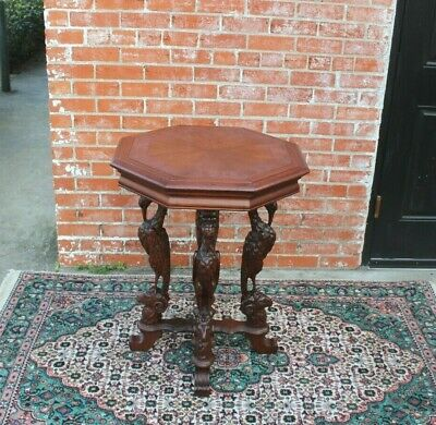 English Antique Renaissance Mahogany Octagon Occasional Table / Side Table