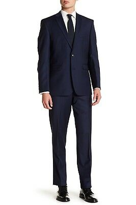 Vince Camuto Solid Blue Wool Trim Fit Two Button Notch Lapel Suit, 42S, $695 NWT