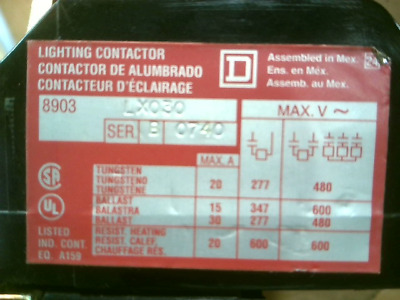 SQUARE D 8903-LX030 Lighting Contactor - Used