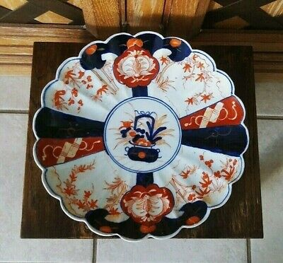 """Antique Old Japanese Imari Scalloped Meiji Period Charger Plate Dish 12"""""""