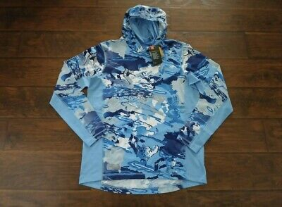 Under Armour Coolswitch Loose Long Sleeve Hoodie Hydro Camo Shirt Aqua BL Sz XXL