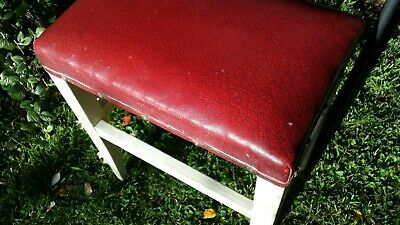 Vintage Wooden Rustic Stool Cottage Farmhouse. Tall with red vinyl cushion top