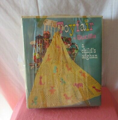 Vintage Bucilla Toyfair Childs Yellow Afghan Crochet Kit #7814