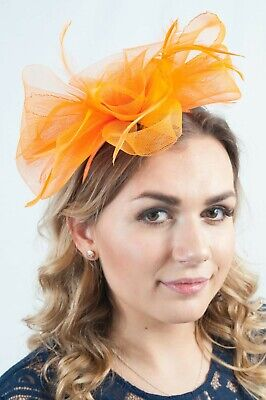 Orange Floral Feather Fascinator Ladies Fascinators Race Day Wedding Guest