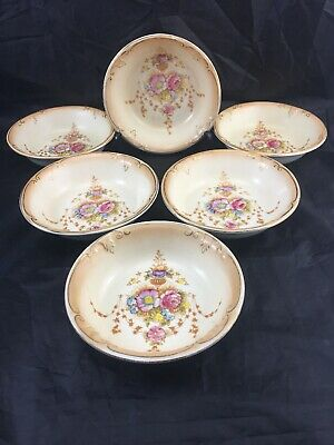 6 X ANTIQUE CROWN DEVON WARE FIELDINGS STOKE ON TRENT BOWLS. England.