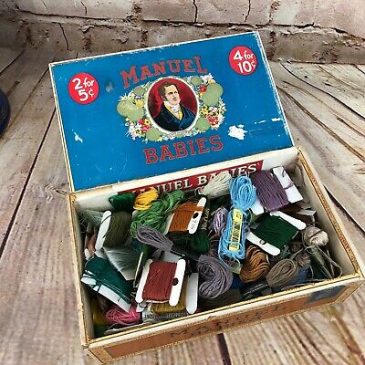 huge lot of embroidery thread floss in vintage cigar box