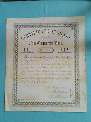 South Africa Cape Commercuial Bank £12 Share 1854 Cape Town