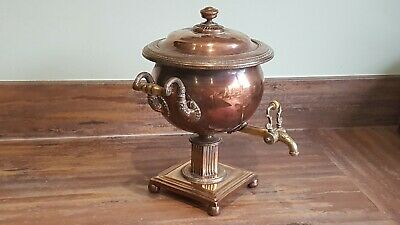 Antique George lV Neoclassical Copper Samovar Hot Water Urn