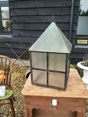 A Unusually Large Vintage Verdigris Copper Or Brass And Iron Porch Lantern Arts