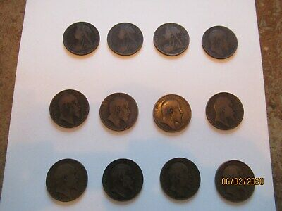 Old Bronze Penny Coins. Full Set 12 Coins 1899-1910. Fine Condition