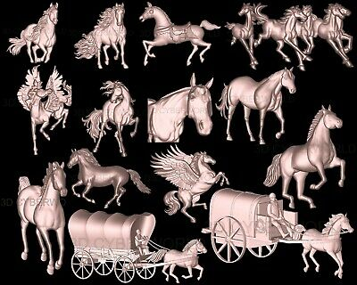 14 PCS Pieces 3D STL Models (HORSES / ANIMALS), CNC Artcam relief Aspire Printer