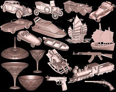 19 PCS Pieces 3D STL Models CAR SHIP GUN TRAIN, CNC Artcam relief Aspire Printer