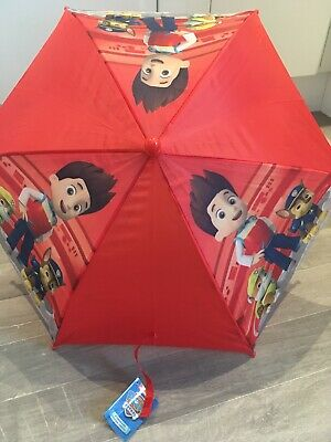Paw Patrol Kids Boys 6 Panel Umbrella Red Ryder Chase Rubble Brand NEW