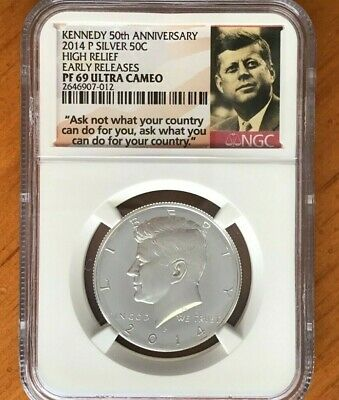 2014 Silver Kennedy 50C 50th Anniversary 4 Coin Set NGC PF69 SP69 PDSW Ask Not