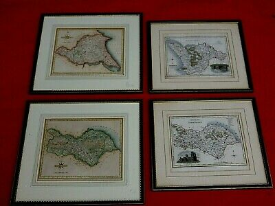 4 X Original Antique  Maps Of The Yorkshire Ridings Framed  For A Nhs Nurse Fund