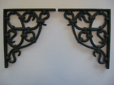 "Lot of 12 Cast Iron Shelf Brackets 8"" Antique Style Rustic Victorian Vines Black"