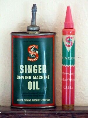 Vintage Singer Sewing Machine Handy Household Oil Can Lead Spout & Plastic Tube