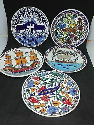 """Vintage Grecian Pottery Neofitoy Keramik Wall Hanging Multi-Color 7"""" Set of Five"""