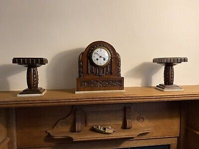 French carved walnut Clock garniture - style of Gueret Freres