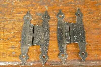 "Pair of Vintage Hammered Black Colonial H Style HINGES for 3/8"" Offset"