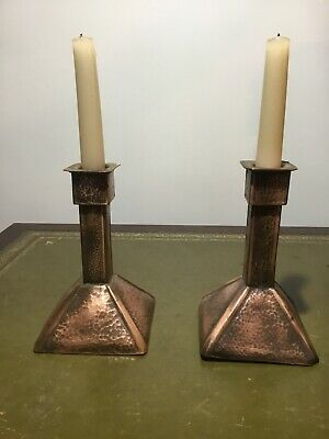 Arts And Crafts Pair Of Copper Candle Sticks Circa 1910