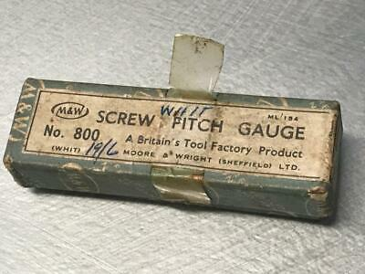 OLD VINTAGE BRITISH MACHINIST TOOL SCREW PITCH GAUGE No 800 MOORE & WRIGHT SHEFF