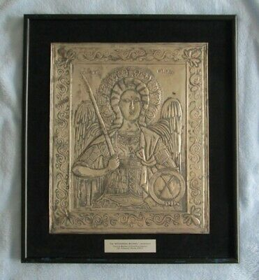 Antique Archangel Michael Salvage Framed Metal Art Plaque Byzantine Police Rare