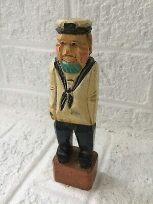 Vintage Wood Hand Carved Nautical Fisherman 6 inches