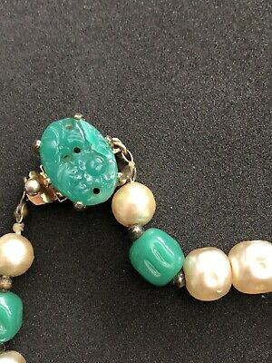 Vtg Jade Pearl Bead Necklace  Hand-Knotted  Lovely Long Statement Chinese