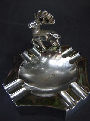 ANTIQUE ART DECO CHROME ASHTRAY  DEER FIGURINE  Vintage 1930'S