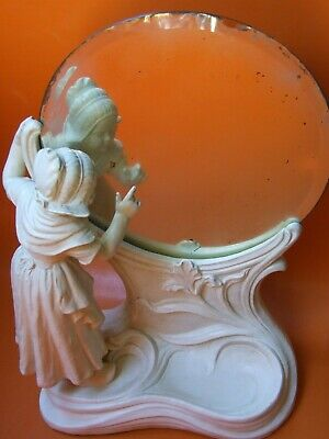 Antique Art Nouveau Ceramic Girl Figure Looking on Beveled Mirror Vintage 1890's