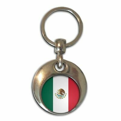 MEXICO Mexican Flag Color Round Metal Alloy KEY CHAIN Ring Keychain NEW
