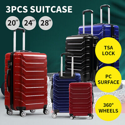 Suitcase Luggage Set 3 Piece Sets Travel Organiser Hard Cover Trolley Packing