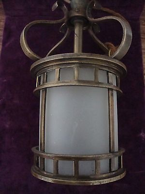 Superb arts and crafts heavy quality cast brass hall or porch lamp
