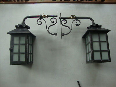Superb matched pair arts and crafts exterior gas  lamps