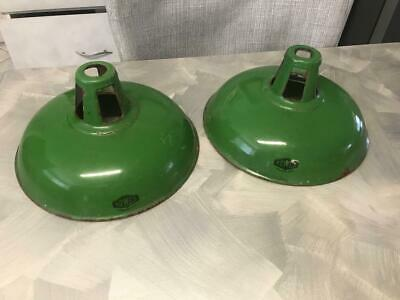 Old Vintage Industrial Green Enamel Tin Factory Hang Lamp Light Australian Rowco