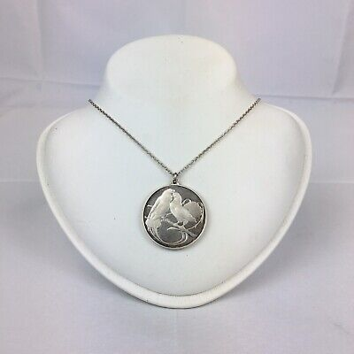 Vintage French Solid Silver Dove Pendant On Chain Marie De France