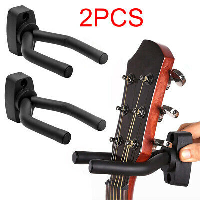 2X Guitar Hanger Adjustable Wall Mount Display Bracket Hook Holder Clips Black