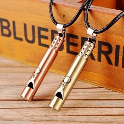 Men Women Whistle Cross Pendant Stainless Steel Couples Chain Necklace Jewelry